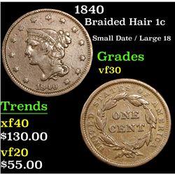 1840 Braided Hair Large Cent 1c Grades vf++