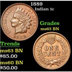 1889 Indian Cent 1c Grades Select Unc BN