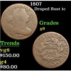 1807 Draped Bust Large Cent 1c Grades g+