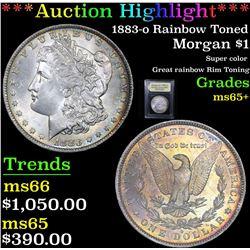 ***Auction Highlight*** 1883-o Rainbow Toned Morgan Dollar $1 Graded GEM+ Unc By USCG (fc)