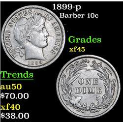 1899-p Barber Dime 10c Grades xf+