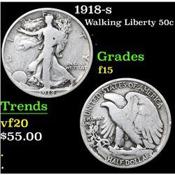 1918-s Walking Liberty Half Dollar 50c Grades f+