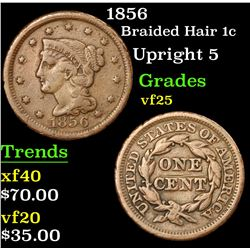 1856 Braided Hair Large Cent 1c Grades vf+