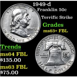 1949-d Franklin Half Dollar 50c Grades Select Unc+ FBL