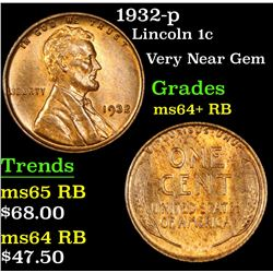 1932-p Lincoln Cent 1c Grades Choice+ Unc RB
