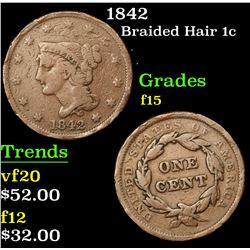 1842 Braided Hair Large Cent 1c Grades f+