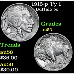 1913-p Ty I Buffalo Nickel 5c Grades Select AU
