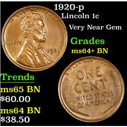 1920-p Lincoln Cent 1c Grades Choice+ Unc BN