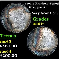1896-p Rainbow Toned Morgan Dollar $1 Grades Choice+ Unc