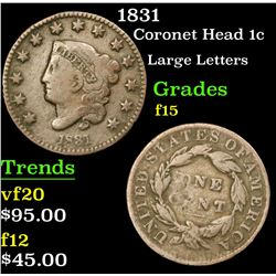 1831 Coronet Head Large Cent 1c Grades f+