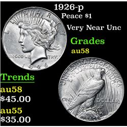 1926-p Peace Dollar $1 Grades Choice AU/BU Slider