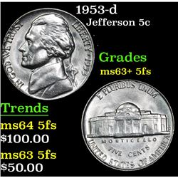 1953-d Jefferson Nickel 5c Grades Select Unc+ 5fs