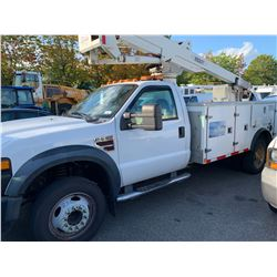 2008 FORD F550 XL SUPERDUTY, WHITE, 2DR BOOM TRUCK, DIESEL, AUTOMATIC, VIN#1FD5F56R38EE45124,