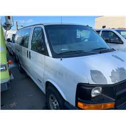 2003 CHEVROLET EXPRESS, WHITE, 5DR VAN, GAS, AUTOMATIC, VIN#1GCFG2FT431137915, 245,700KMS, RD,AC,