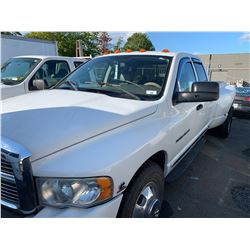 2005 DODGE RAM HD, 3500 LARAMIE, 4DRPU, WHITE, DIESEL, AUTOMATIC, VIN#3D7MR483C5G853823,