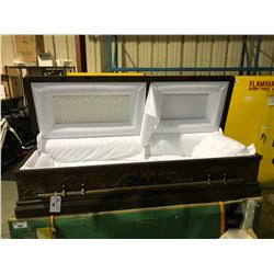 """LUXES RUSTIC WOOD 81"""" X 27"""" HALF COUCH WHITE FABRIC BURIAL CASKET"""