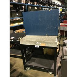 "GRANITE 36"" X 24"" X 6"" CALIBRATED TESTING SURFACE ON BLACK METAL 2 TIER MOBILE SHOP CART"