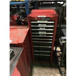RED CRAFTSMAN 10 DRAWER MOBILE MECHANICS TOOL CHEST