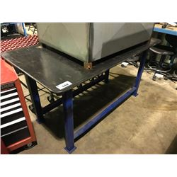 "67"" X 37"" BLUE HEAVY DUTY METAL WORK TABLE WITH RUBBER MATTING"