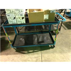 "48"" X 24"" BLUE METAL 2 TIER MOBILE SHOP CART"
