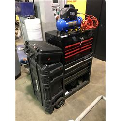 HUSKY PLASTIC TOOL BOX, MAXIMUM PROTECTIVE CASE, MASTERCRAFT AIR COMPRESSOR, MASTERCRAFT & STANLEY