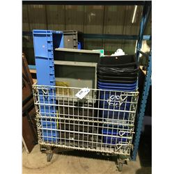 LOT OF ASSORTED WASTE DISPOSAL BINS, RECYCLING CANS & PLASTIC STORAGE BINS (METAL BIN NOT INCLUDED)