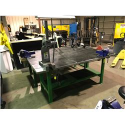 "GREEN METAL 84"" X 37"" INDUSTRIAL WORK BENCH WITH VISE GRIP & 3 TON MANUAL PUNCH PRESS"