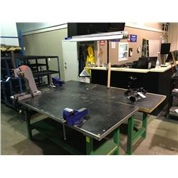 "GREEN METAL 95"" X 30""  ILLUMINATED INDUSTRIAL WORK BENCH WITH VISE GRIP & DUAL MONITOR ARM"