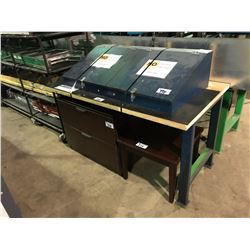 BLUE METAL 2 DOOR STORAGE WORK BENCH WITH CHERRY 2 DRAWER LATERAL FILE CABINET & TABLE