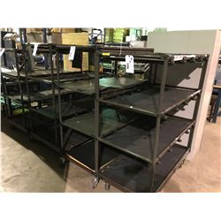 BROWN 4 TIER TUBE CONSTRUCTED MOBILE SHOP CART