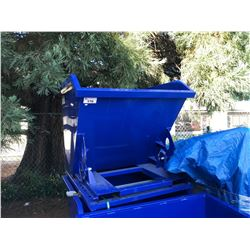 "BLUE 43"" X 43"" METAL TILTING FORKLIFT ATTACHMENT DUMPING BIN"