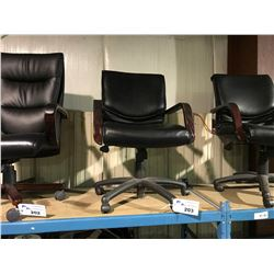 BLACK LEATHER MID BACK MOBILE EXECUTIVE CHAIR
