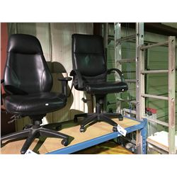 BLACK LEATHER HIGH BACK MOBILE EXECUTIVE CHAIR