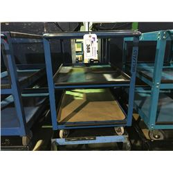 BLUE METAL 3 TIER MOBILE SHOP CART