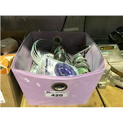 PURPLE BASKET OF ASSORTED TOOLS & CUTTING DISCS
