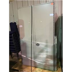 GREY INDUSTRIAL METAL 2 DOOR STORAGE CABINET AND SHELF SYSTEM