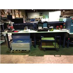 BLUE & WHITE HEAVY DUTY LAB TABLE WITH POWER