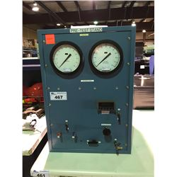 BLUE INDUSTRIAL PRE-TEST STAND WITH GAUGES & CONTROLS