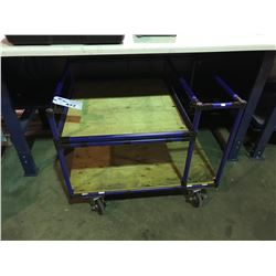 BLUE TUBE CONSTRUCTED 2 TIER MOBILE EQUIPMENT CART
