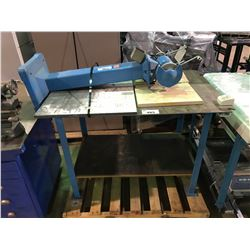 PALLET CONSISTING OF BLUE METAL 2 TIER TABLE & BLUE DUAL GRINDER/BUFFER