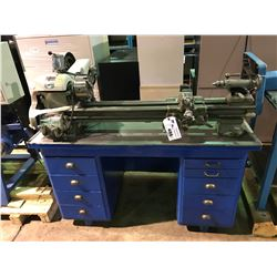 BLUE WOOD & METAL TABLE WITH SOUTH BEND LATHE