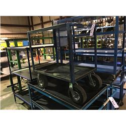 BLUE LARGE 2 TIER PNEUMATIC TIRE MOBILE SHOP CART