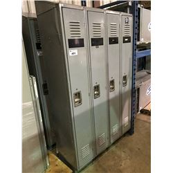 GREY METAL 4 BAY LOCKER SYSTEMS