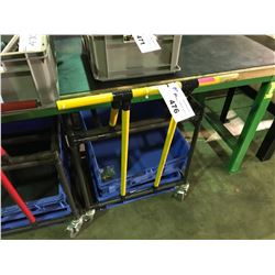 TUBE CONSTRUCTED 2 TIER MOBILE CART WITH BLUE BINS