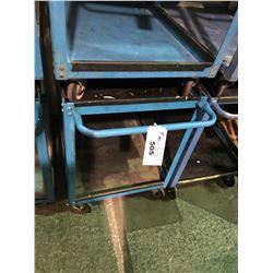 BLUE METAL 2 TIER MOBILE SHOP CART