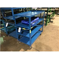 BLUE METAL 4 TIER MOBILE SHOP CART