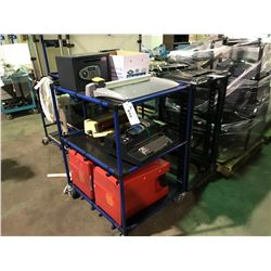 TOTEM MOBILE SERVER RACK, BLUE 3 TIER MOBILE TUBE MADE SHOP CART, WASTE CANS & OFFICE CONTENTS