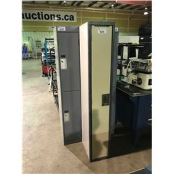 GREY 3 BAY DOUBLE DOOR LOCKER SYSTEM & BEIGE SINGLE DOOR LOCKER SYSTEM