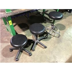 2 BLACK MOBILE GAS LIFT STOOLS & DRAFTING STOOL