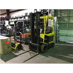 HYSTER E50XM-27 4500LB 3 STAGE ELECTRIC FORKLIFT 02182 HOURS ( NO CHARGER )